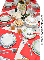 Christmas Eve - Table prepared for the Christmas Eve supper