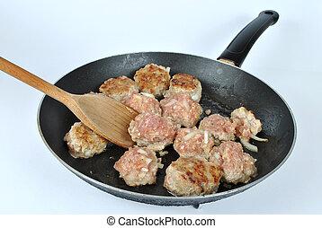 Meatballs on the frying pan
