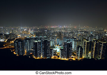 city at night, view from mountain
