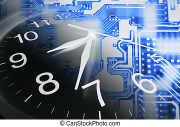 Clock and Circuit Board - Composite of Clock and Circuit...