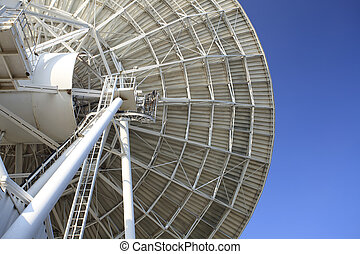 Radar dish with blue sky