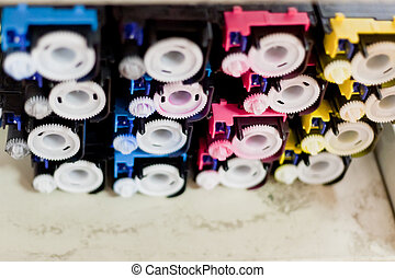 disassembled color cartridges - disassembled colour...