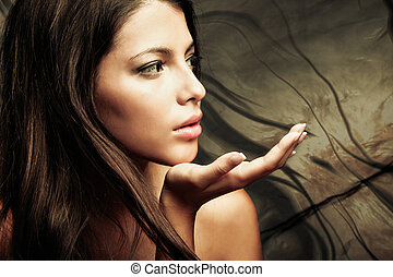 mystic beauty - young woman beauty fantasy portrait, studio...