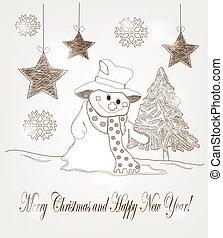 Hand drawn christmas postcard