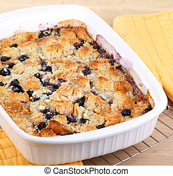 Baked Blueberry Cobbler - Blueberry cobbler in a baking dish...