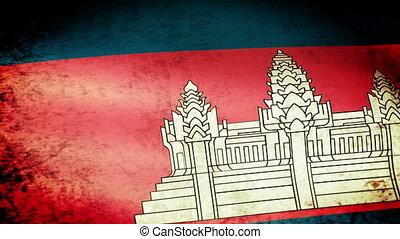 Cambodian Flag Waving, grunge look