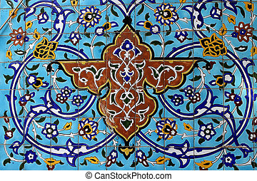 Arabic shape - Colorful detail from Iranian mosque in Dubai