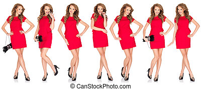 Silhouettes of a sexy blond woman in red dress