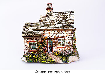 English House Replica - Replica of a country house on White...