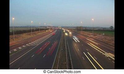 Motorway Timelapse 3 - Uk motorway at night showing light...