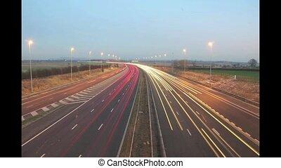 Motorway Timelapse 2 - Uk motorway at night showing light...