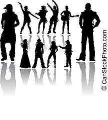 Dancing and Singing People's Silhouettes - Vector...