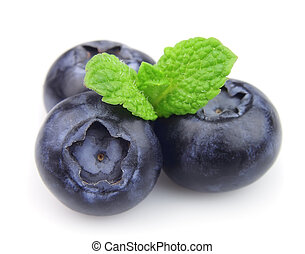 Ripe blueberry with mint