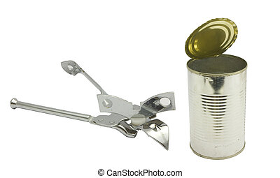 can opener and tin can - a can opener and a opened tin can,...