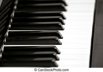 Piano Key Board - Piano keyboard with selective focus, frame