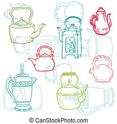 Beautiful Background of Teapot Doodles in vector