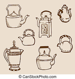 Set of Teapot Doodles in vector