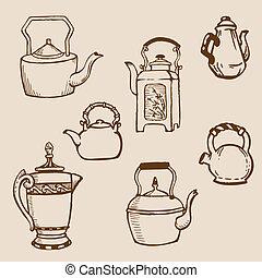 Set of Teapot Doodles in vector
