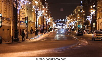 Traffic on a Nevsky street in St Petersburg (Russia) at...