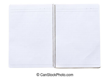 notebook page - opened notebook with binder, isolated on...