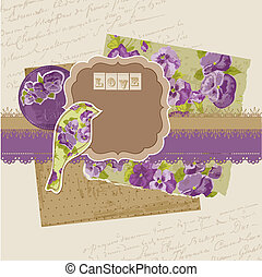 Scrapbook Design Elements - Vintage Viola Flowers in vector