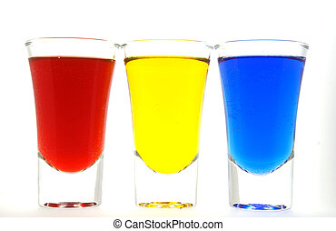 red blue yellow liquid glass drink - blue red yellow liquid...