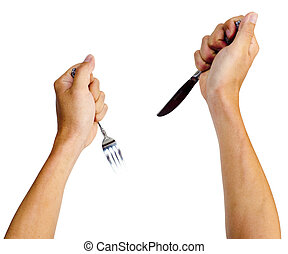 hands gripping knife and fork, isolated on white.