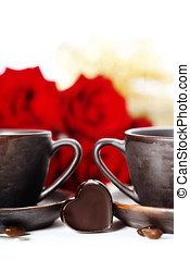 red roses and coffee for Valentine's Day