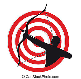Archer With Target Silhouette of an archer pulling a bow and...