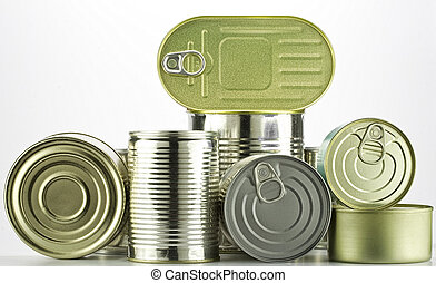 lots of tin cans - lots of cans against white background