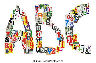 newspaper abc - ABC letters made of newspaper letters,...