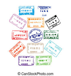 Passport Stamps - Colorful passport stamps background for...