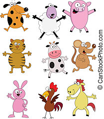 Farm animal cartooinn collect - Vector illustration of farm...