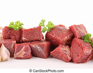 isolated raw fresh beef cubes