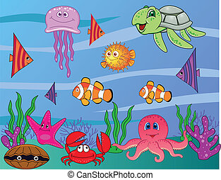 Sea life - Vector illustration of cartoon sea life