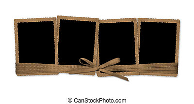 Set old grunge paper frames with bow on the white isolated background