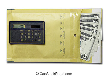 dollars in the envelope with calculator