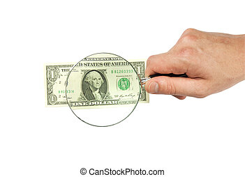 dollar bill and hand holding magnifying glass isolated on...