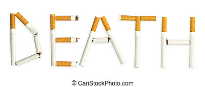 "A word ""death"", made of cigarettes, isolated on white"