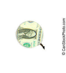 dollar bill and magnifying glass isolated on white...