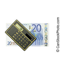calculator and 20 euro bill on white background