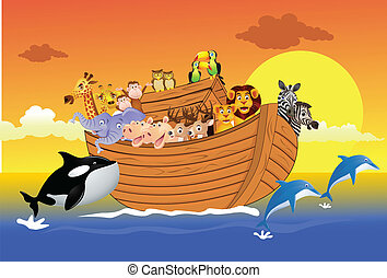 Noah ark - Vector illustration of animal in the Noah ark