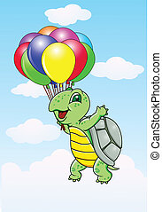 Turtle with balloon