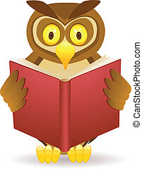 Owl reading a book - Owl cartoon of owl reading book