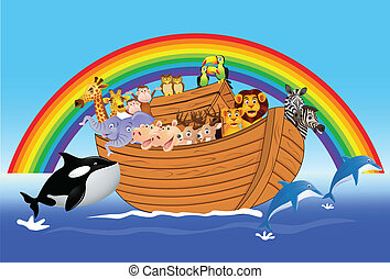 Noah ark - Vector illustration of animal in the ark
