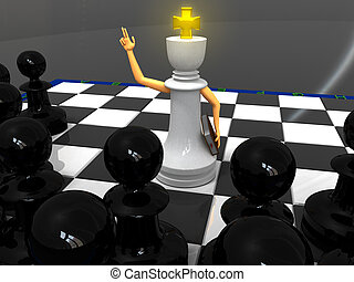 Chess priest - White king monk and black pawns