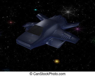 Battle spaceship in deep space