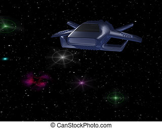 Blue spaceship - Battle spaceship in deep space