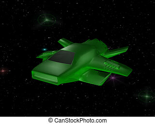 Geen battle spaceship - Green battle spaceship in deep space