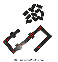 Domino - row and heap domino on white background